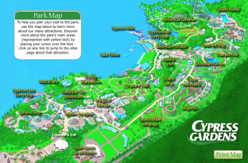 Cypress Gardens Theme Park Map