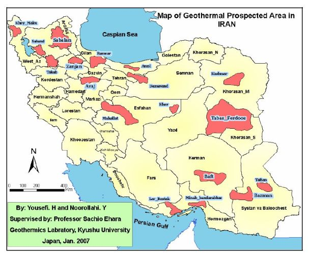 Iran Geothermal potential map